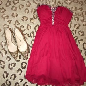 Red Prom/Formal Dress with Silver Accents